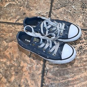 Converse denim white polka dot sneakers